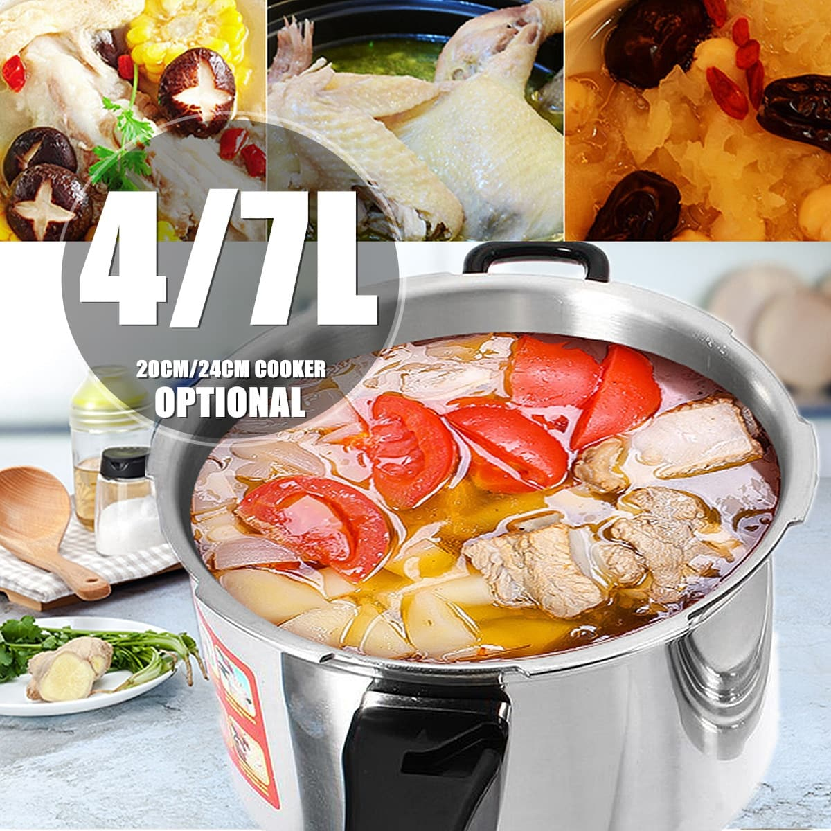 20 24cm Aluminium Alloy Kitchen Pressure Cooker Gas Stove